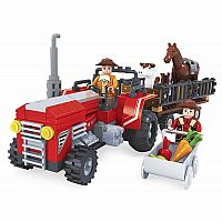 21812 Red Tractor with Trailer