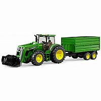 John Deere with Frontloader and Tipping Trailer