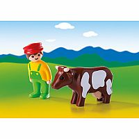 6972 Farmer with Cow