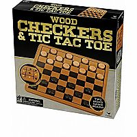 Checkers & Tic Tac Toe (Wooden)